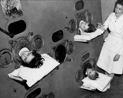 Children in Iron Lung. Courtesy of Boston Children's Hospital